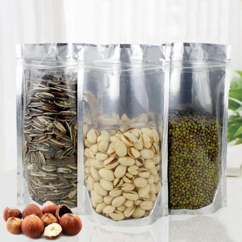 500 Uds. Bolsas Ziplock de papel de aluminio 18x26 bolsas de plástico transparente Pe Bolsa con cierre de cremallera transparente para tela/comida/regalo/bolsa de exhibición de embalaje de joyería