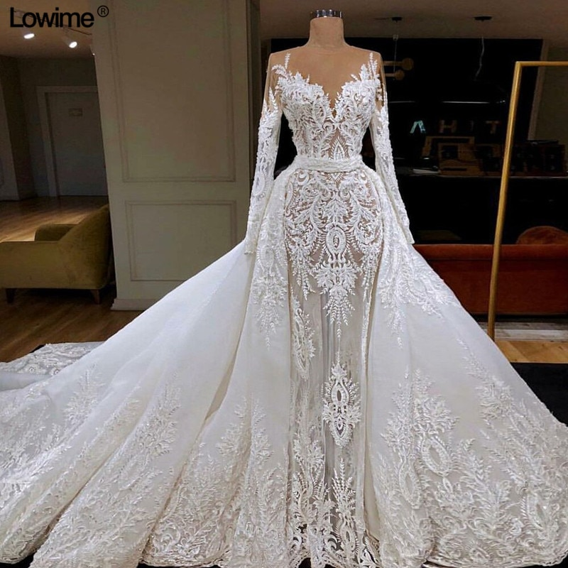 Lowime Illusion Lace Wedding Dresses 2019 V-Neck Beading Sequined vestido de noiva Muslim Long Sleeves Bridal Gowns 2021платья champagne mermaid wedding dresses illusion long sleeves v neck lace applique backless bridal gown vestido de noiva