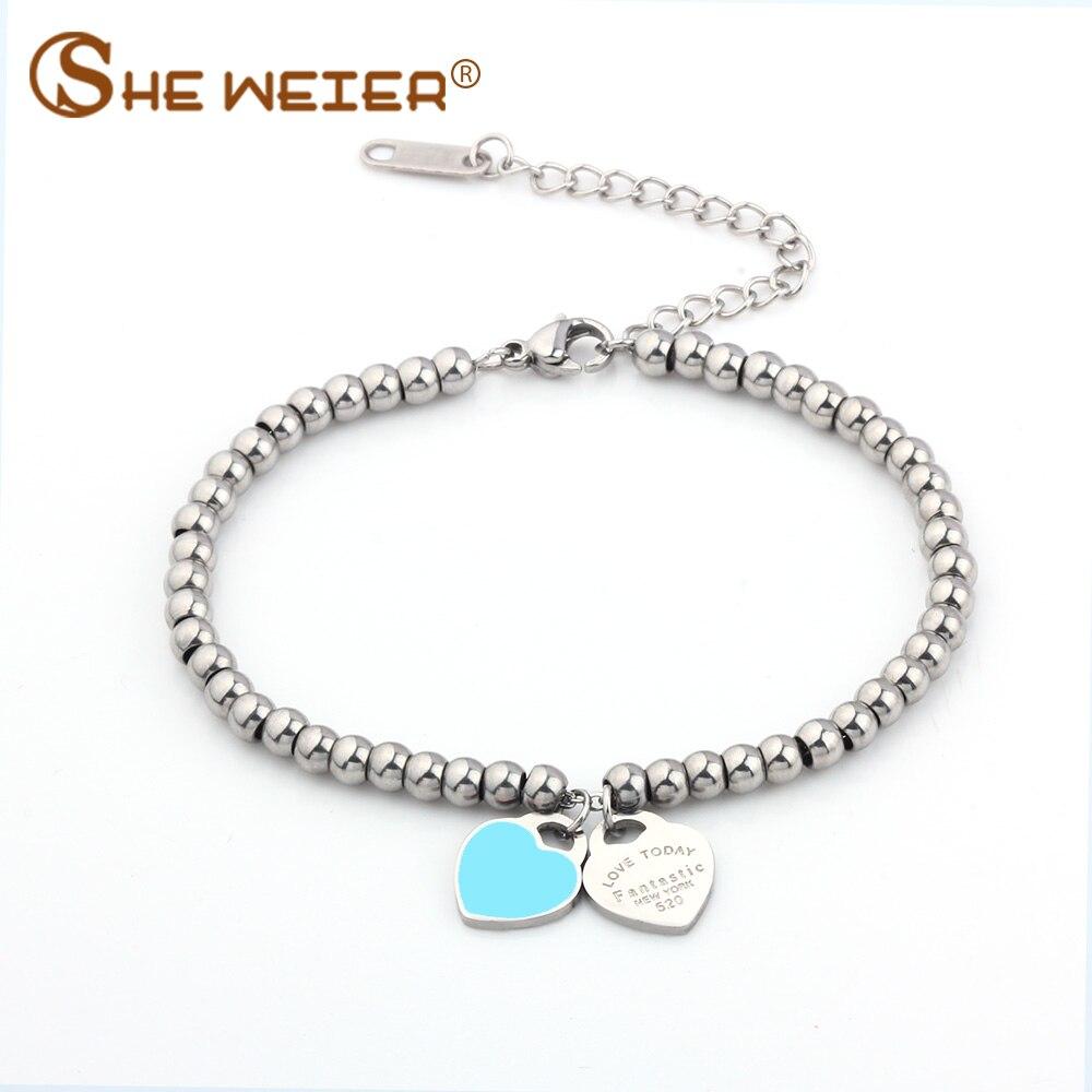SHE WEIER браслет в виде сердца и браслеты с бусинами femme Подарки для женщин женские ювелирные изделия из нержавеющей стали braslet charms