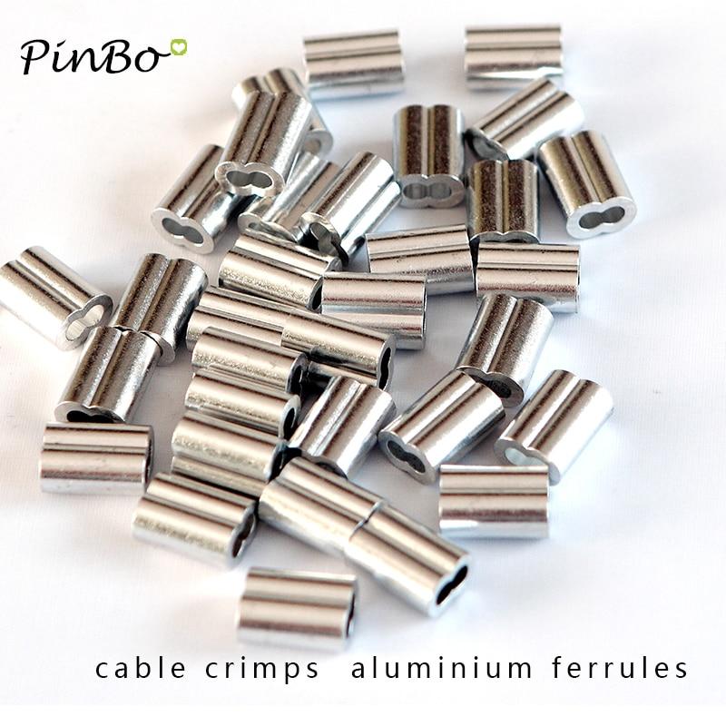 Manguitos de aluminio de 100mm de diámetro, agujero de óvalo doble para prensar la cuerda de alambre, 1,5 unidades