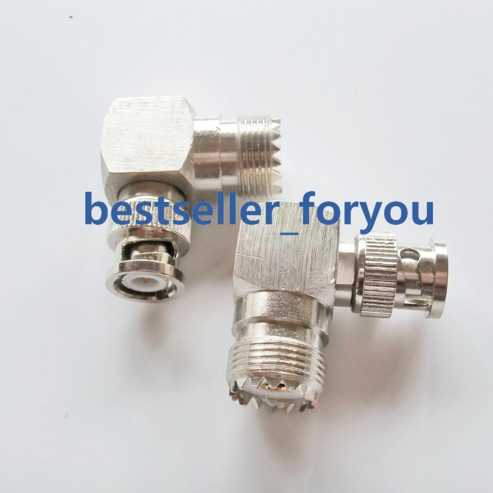 1x nuevo BNC de macho a hembra UHF SO239 derecho ángulo de 90 grados adaptador conector de RF