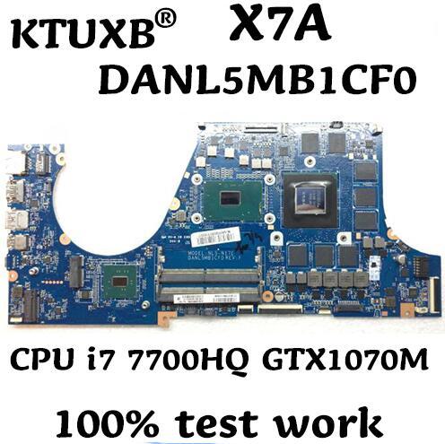NL5-N17E DANL5MB1CF0 para CLEVO X7A portátil placa base CPU i7 7700HQ GTX1070M 8G DDR4 100% prueba de trabajo