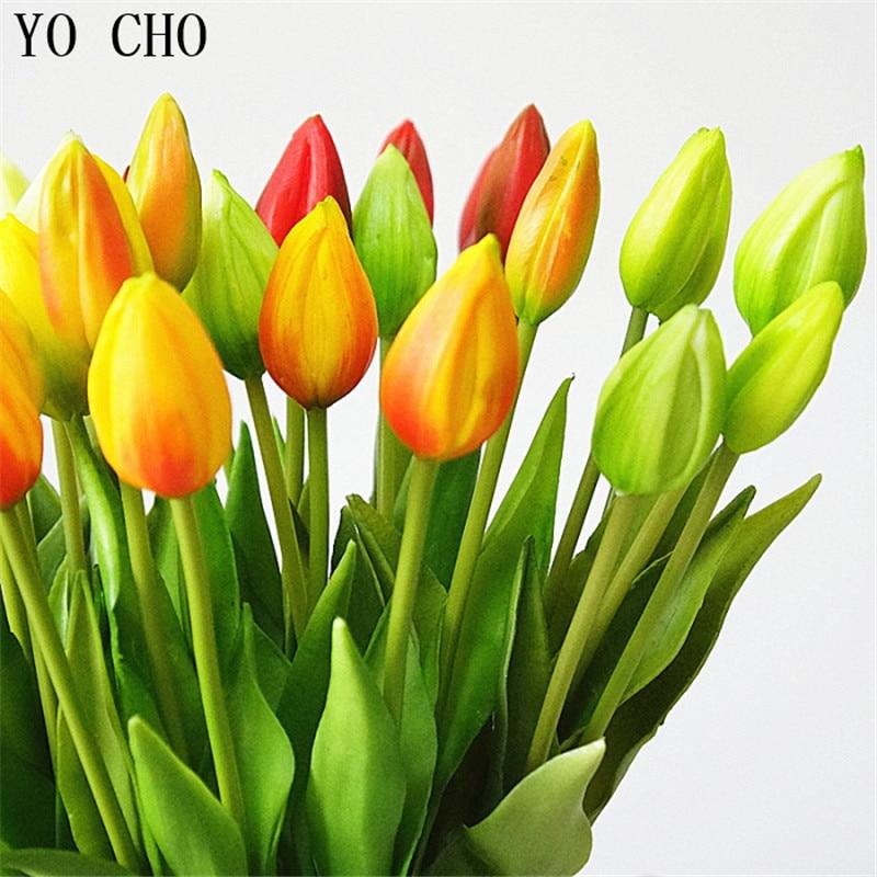 YO CHO 6 pcs/lot Mini Tulips PU Artificial Flowers Wedding Flower Home Decor Accessories Luau Party Supplies DIY Bridal Bouquet