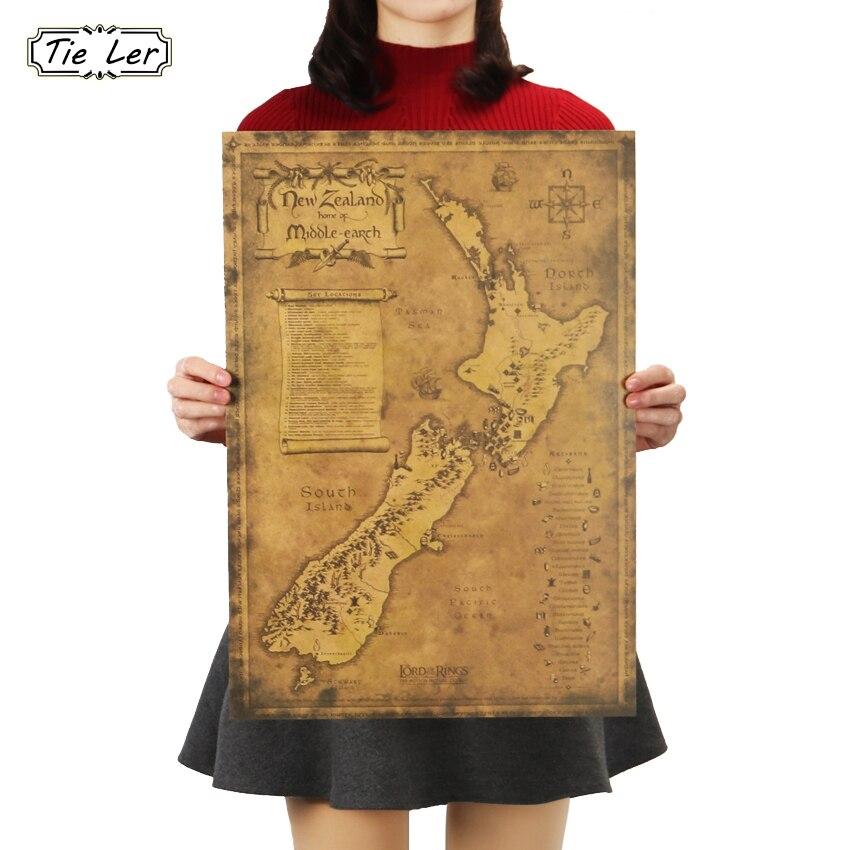 Póster de mapa antiguo misterioso de Nueva Zelanda de TIE LER que restaura formas antiguas mapa papel Kraft adorno imagen póster pegatina de pared