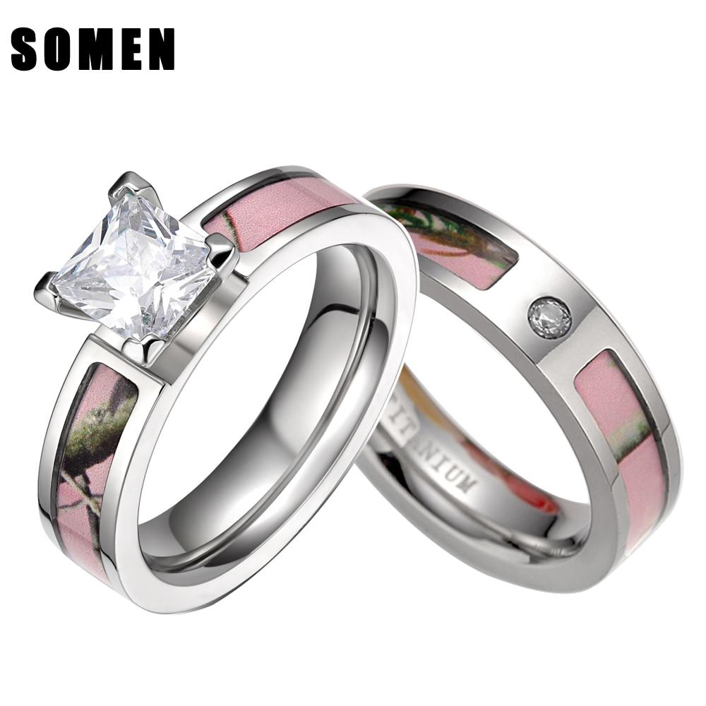 2Pcs Pink Tree Camo Inlay Titanium Couple Ring Set Women Cubic Zirconia Wedding Band Men Engagement Ring Jewelry Lover alliance