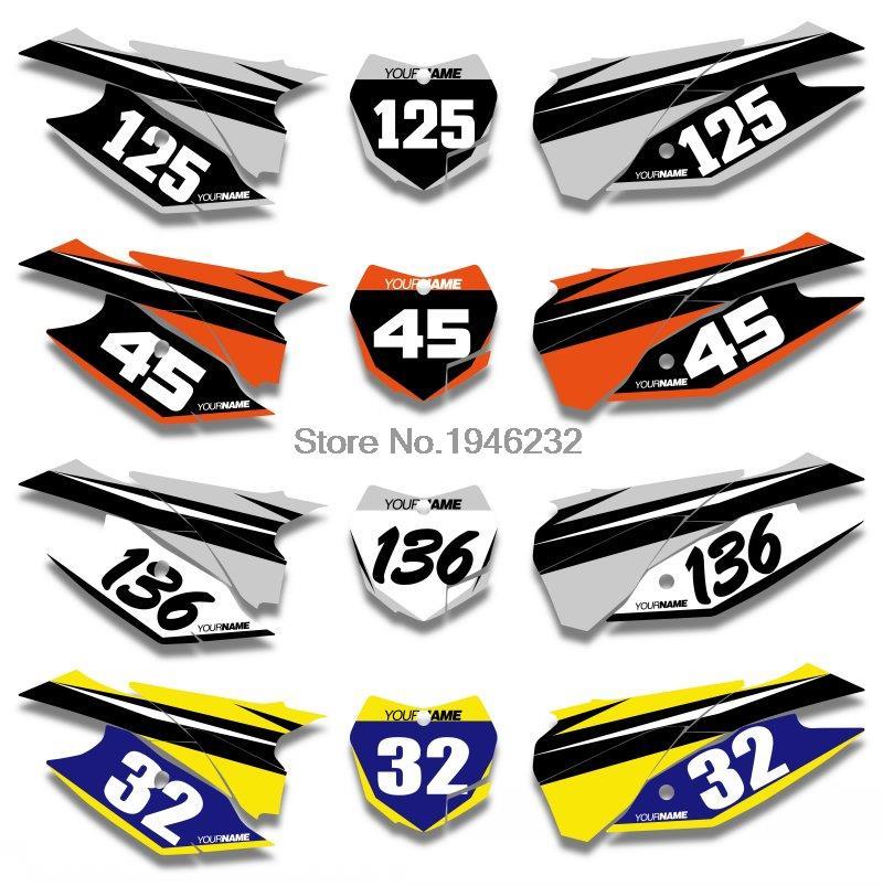 Kit de calcomanías y calcomanías gráficas con número de placa y fondos personalizados para KTM SX XC SXF XCF 125 150 250 350 300 450 2013 2014 2015