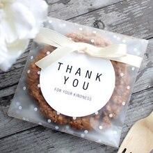 100 unids/lote bolsas de plástico transparentes para embalaje de galletas bolsas autoadhesivas para Cupcake