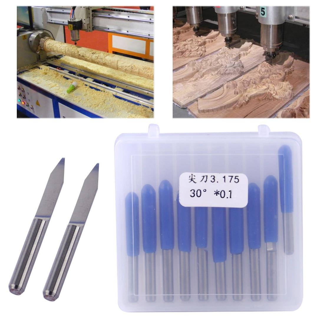 LETAOSK 10 piezas de acero de tungsteno en forma de V 30 grados 0,1mm PCB grabado Bit CNC enrutador accesorios de herramientas