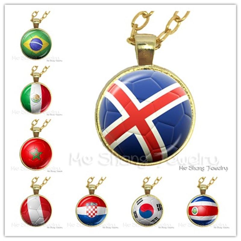 2018 Titan de la copa de fútbol de Rusia recuerdo de collar Islandia Costa Rica 32 Stirkers Bandera de fondo de fútbol collar tazas