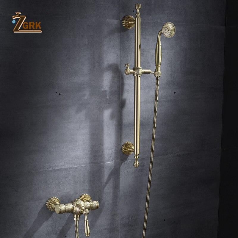 ZGRK-حنفيات دش نحاسية فاخرة ، دش مطري ، حمام ، مثبت على الحائط ، دش ، صنبور خلاط ، مجموعات HS019