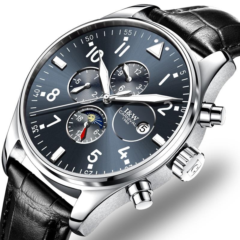 Reloj mecánico automático de Carnaval para hombre, relojes de lujo de marca superior para hombre, reloj de pulsera luminoso para hombre de zafiro, C8764G-10