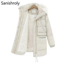 Sanishroly 2018 hiver femmes à capuche manteau blanc canard doudoune Parka dames Midi longue laine dagneau vêtements dextérieur hauts grande taille SE291