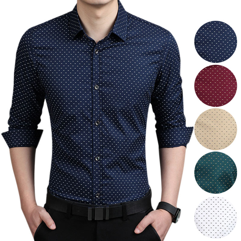 De los hombres de la moda Camisa Slim Fit de manga larga Polka Dot Camisa informal de negocios Tops de talla grande 5XL Camisa Masculina Camiseta Masculina