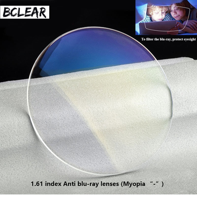 AliExpress - BCLEAR 1.61 refractive index anti blue ray lenses single vision lens Myopia blue light eyes protection computer phone glasses