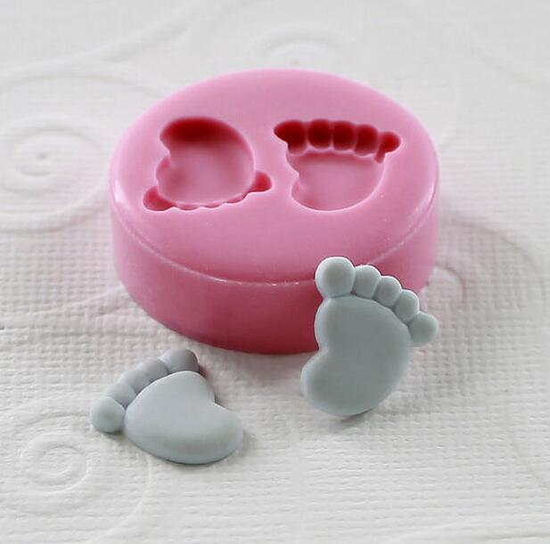 Herramientas moldes de chocolate de silicona pequeño (12mm) molde de pastel de Fondant de pies Mini decoración manualidades diseño de pastel