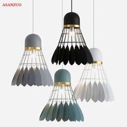 Badminton lâmpada suspensa, luminária de ferro único para decoração de casa, sala de jantar, branco, preto e cinza, iluminação e27