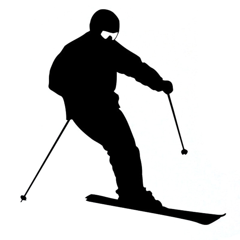 Pegatina de vinilo para coche de 11,4 CM * 11,7 CM silueta de esquiador negro/plata S9-0462