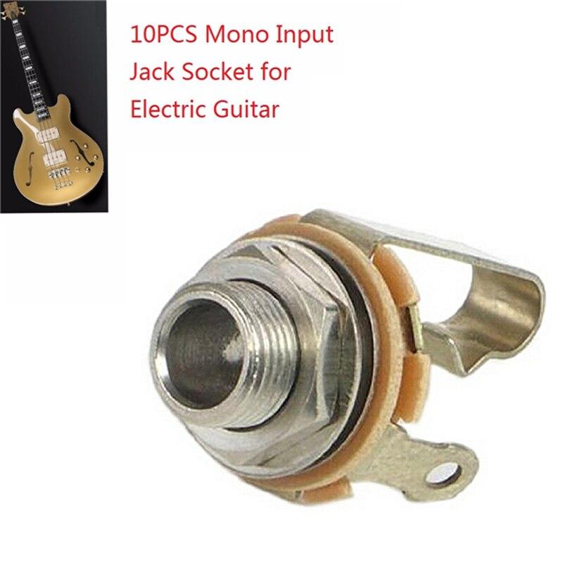 """10 piezas UNIVERSAL 6,35 MM 1/4 """"MONO entrada JACK toma guitarra eléctrica bajo AUDIO PANEL montaje soldadura"""