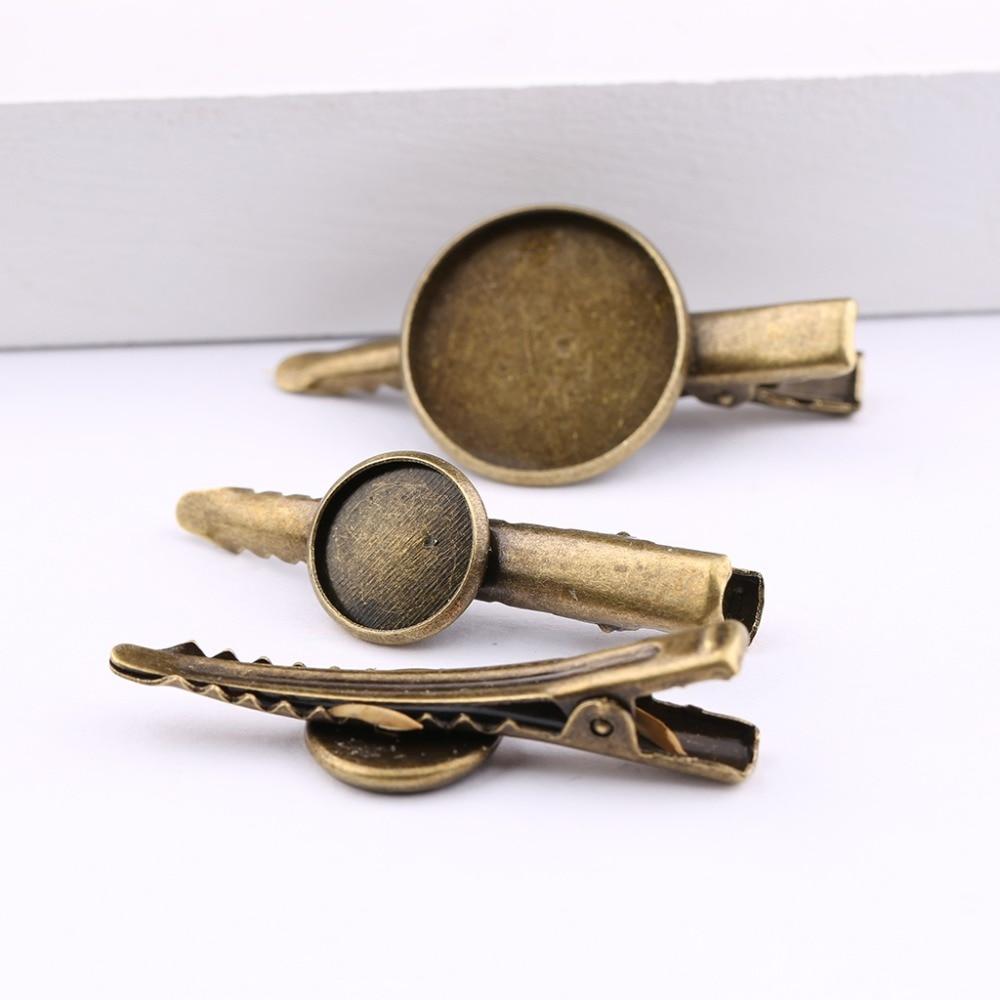 onwear 10pcs antique bronze hair clip base 12mm 20mm dia blank hairclip cabochon settings diy hair jewelry accessories