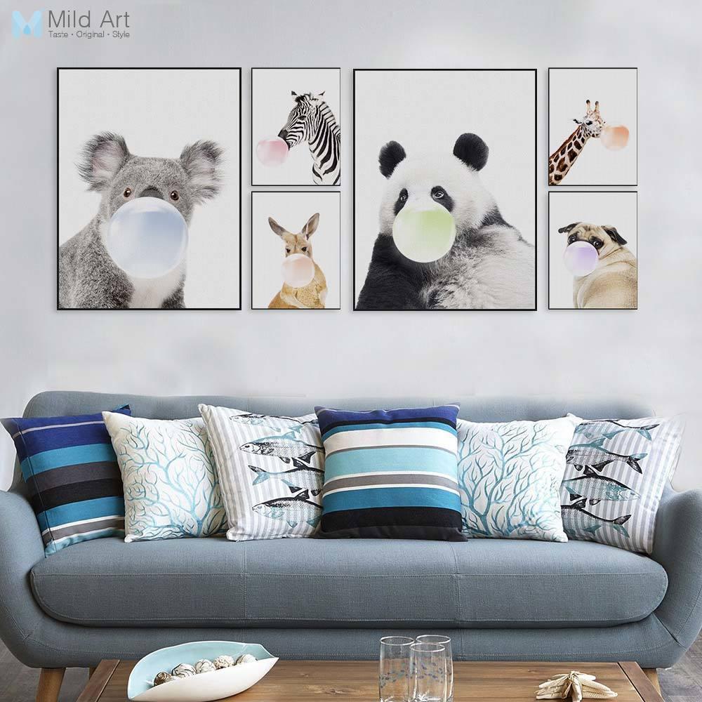 Nordic Kawaii Animal Panda Zebra Giraffe Dog Funny Pop Posters Prints Home Wall Art Pictures Kids Room Decor Big Canvas Painting
