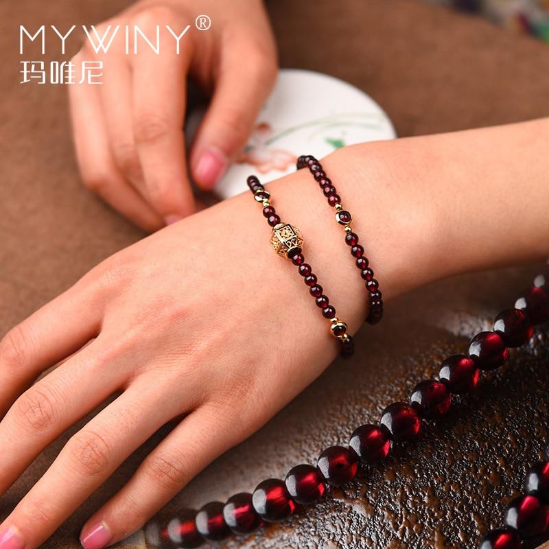 Fashion Handmade natural garnet bracelet women,Luxury vintage elastic bracelet, Ethnic red stone ethnic bracelet