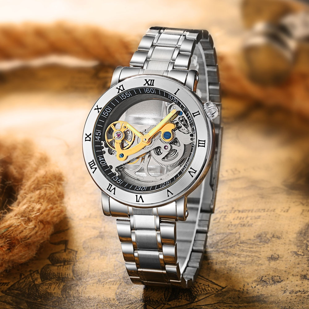 Fashion Top Men Mechanical Watch Unique Transparent Hollow Automatic Self Wind Watches Men Stainless