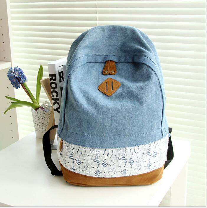 Moderna Mochila de lona con encaje Floral y tela vaquera para mujer, Mochila escolar para adolescentes, Mochila para chicas, Mochila Q0