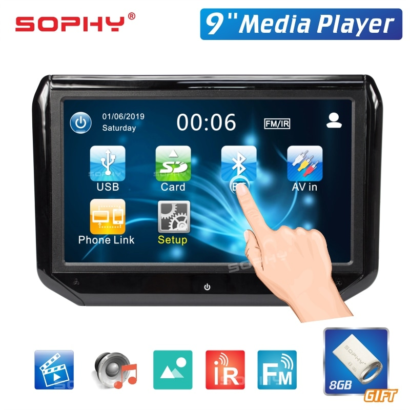 9 inch LED Touch Screen Auto Car Headrest Monitor Seat Back MP5 Video Player USB/SD/IR/FM/Bluetooth