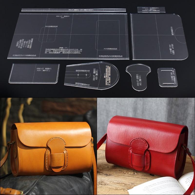 1 Juego de bolso de cuero artesanal, patrón de costura plantilla acrílica DIY, suministros artesanales hechos a mano
