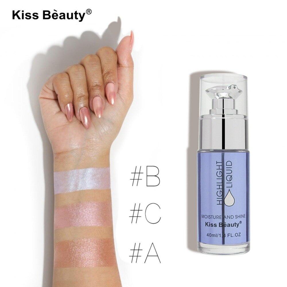 2017 Nuevo beso belleza maquillaje de larga duración 1 pieza pigmento brillante brillo Rosa oro blanco Contorno de cara Resaltadores líquidos