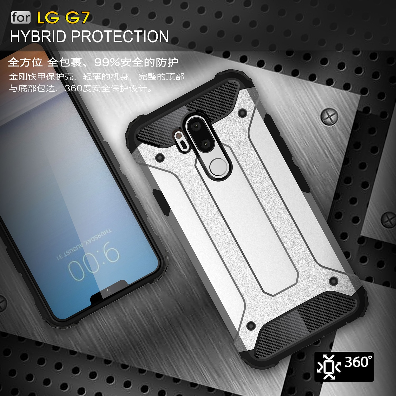 Híbrido armadura para LG V40 resistente PC + TPU caso para LG G6 G7 G8 delgada Q V50 delgada carcasa de teléfono híbrida a prueba de golpes Q