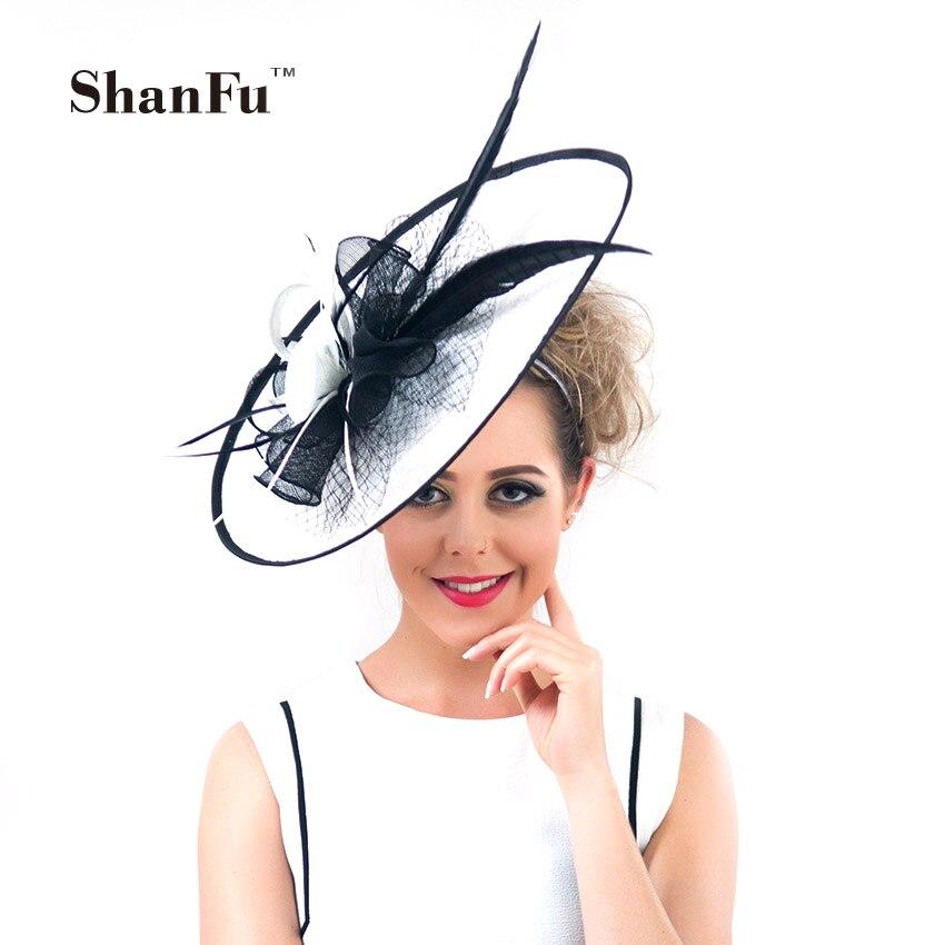 ShanFu Vintage sombreros de boda grandes plumas blancas fascinator diadema para mujeres...