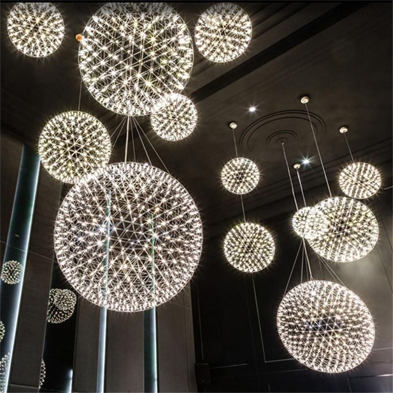 Barra de luces colgantes de fuegos artificiales creativa moderna lámpara colgante de bola de acero inoxidable LED para cafetería/restaurante Lamparas Lustre