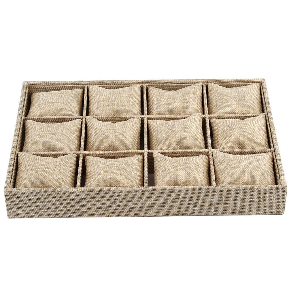 12 слотов подушка стиль ювелирных изделий Часы Браслет Дисплей лоток коробка ожерелье контейнер для серег коробки Чехол Органайзер для ювел...