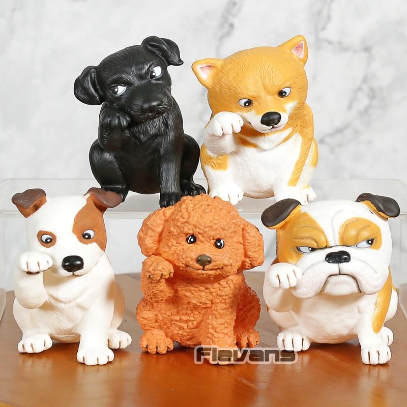 Cápsula Q Museo Kunio Satos Lucky Dog Mini figuras de cachorros versión Q muñecas juguetes 5 unids/set