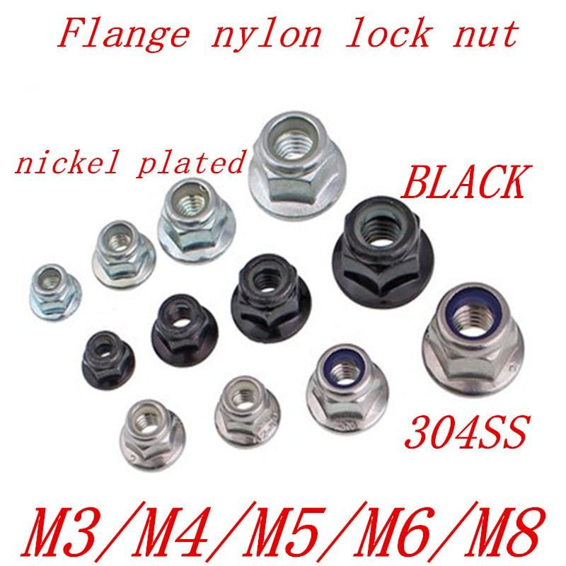 5-50pcs M3 M4 M5 M6 M8 M10 Black Carbon 304 A2-70 Stainless Steel Hex Flange Nylon Insert Lock Nut Self-locking Nylock Locknut
