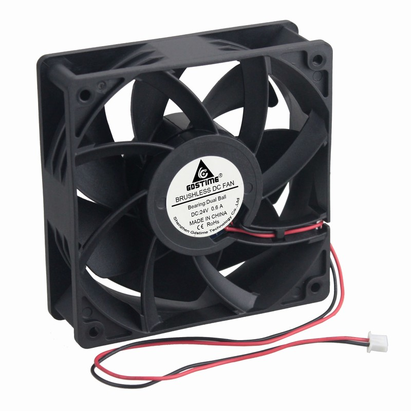 Gdstime 1 Piece 245CFM  DC 24V 12cm 120x120x38mm Dual Ball Cooling Fan 120mm x 38mm CPU PC Case Cooler 12038B 0.6A High Pressure