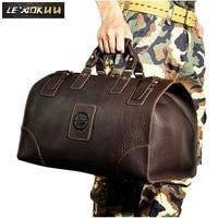 Quality Crazy Horse Leather Male Larger Capacity Retro Design Handbag Duffle Luggage Bag Fashion Travel Suitcase Tote Bag 8151-w