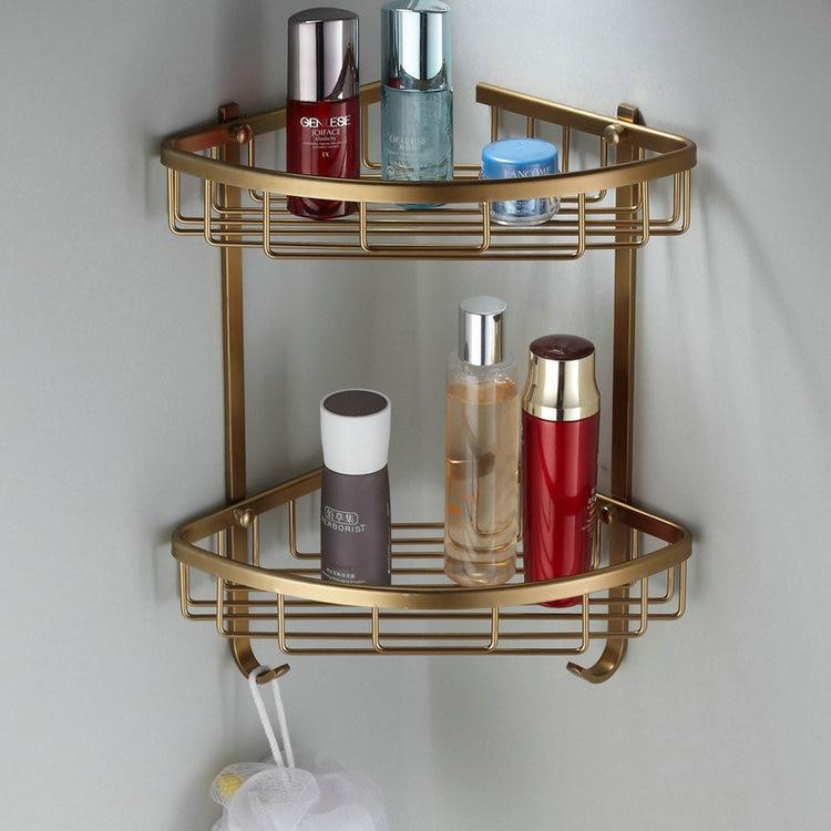 Antiguo espacio aluminio baño esquina estante colgante Retro cepillado toallero doble/solo estante cosmético DF42