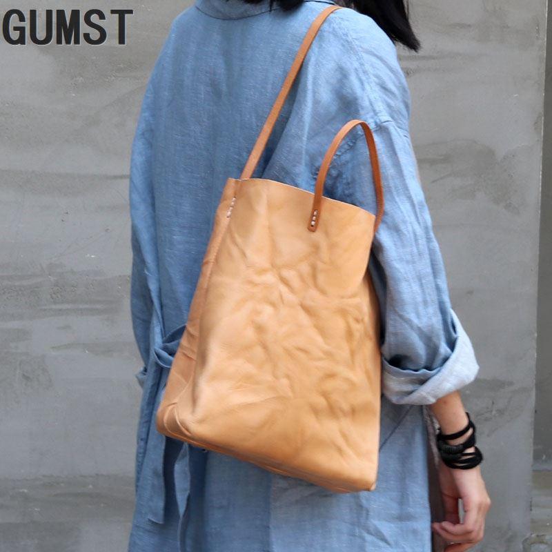 GUMST cuero genuino hecho a mano Original Vintage mujeres niñas gran bolso de cuero de vaca moderno elegante bolso de hombro bolso de compras