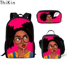 Mochila para niños de THIKIN, Mochila con diseño de arte africano para niñas, 3 unidades por juego, Mochila Escolar, Mochila Escolar