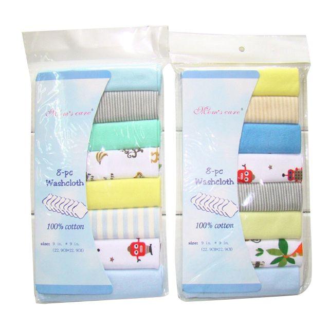 8 unids/pack 100% algodón toallas para bebé recién nacido Saliva Toalla de toalla bebé toalla para niñas pañuelo de tela KF011 (mixto)