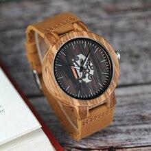 Bobo pássaro relógio masculino relógios de madeira zebra padrão movimento quartzo relógio pulso banda couro genuíno relogio masculino na caixa J-H29