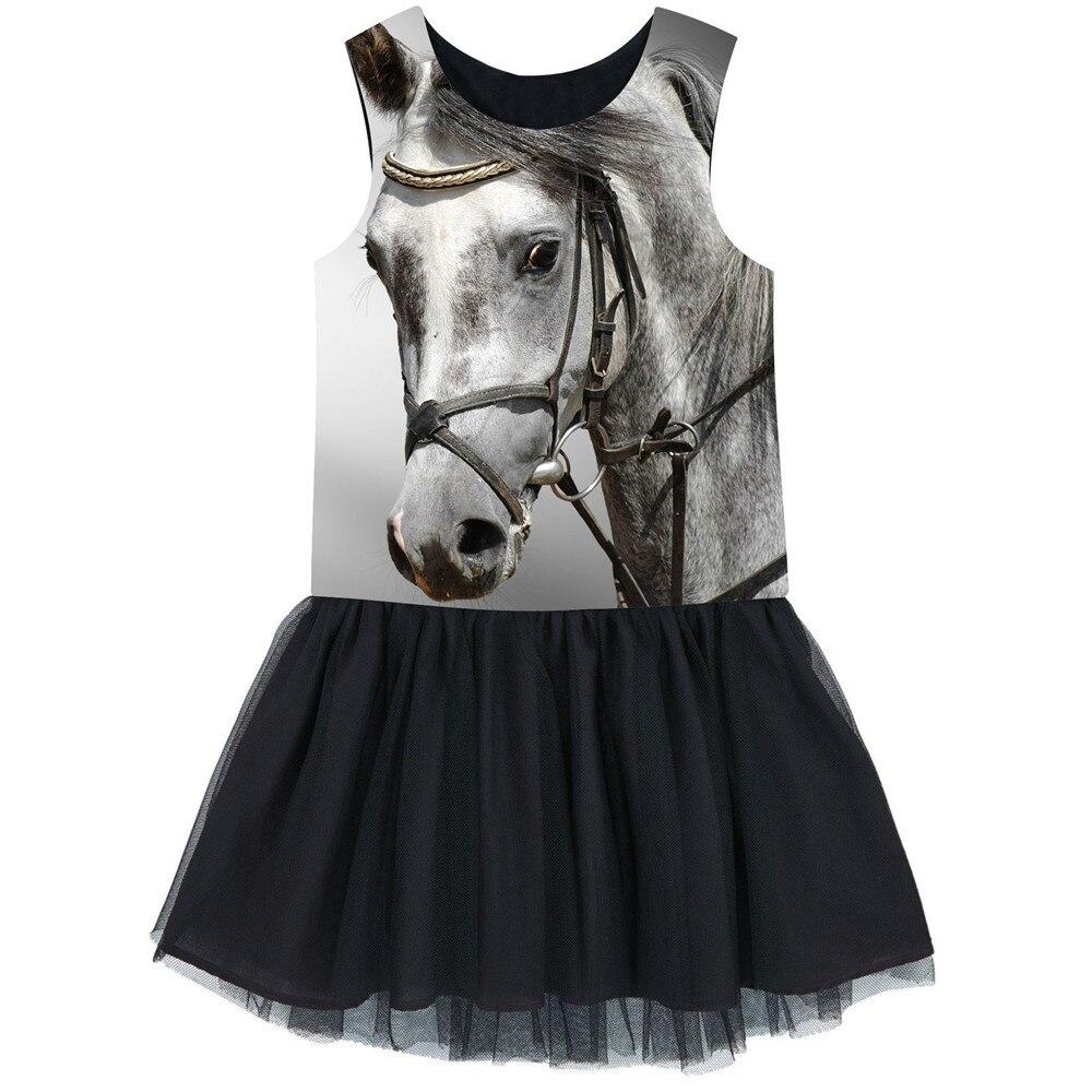 Bonito vestido nuevo de verano, vestido gris con estampado de caballo para niñas, vestido sin mangas, ropa para niños de 2 a 10 años