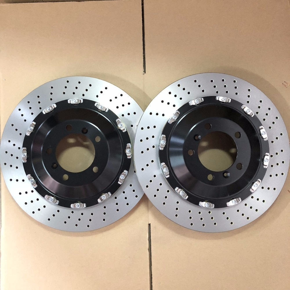 Jekit disco de freno de coche 380*34mm rotor perforado con tapa central flotante para Porsche 911 delantero para Brembo GT6 con 6 pistones de freno