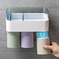 High-grade Bathoom Shelf Adhesive Storage Rack Magnetic Toothbrush Cup Storage Acryl Makeup Storage Box Wall Mounted