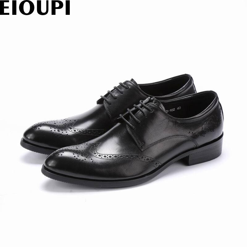 EIOUPI nuevo diseño reales superiores de cuero de grano completo hombres formal de negocios de los hombres vestido Oxford Ala-Consejos de e870-102