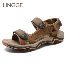 LINGGE Genuine Leather Men Sandals Breather Summer Beach Men Shoes High Quality Men's Sandals Big Size Men Slippers Size 38-45