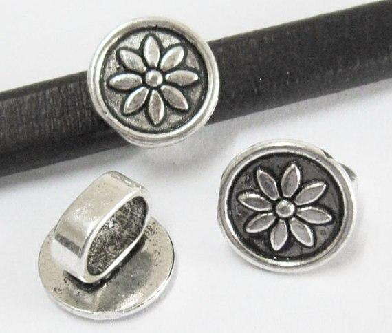 Lotus disc spacer Licorice leather findings Licorice bracelet slider -LF73
