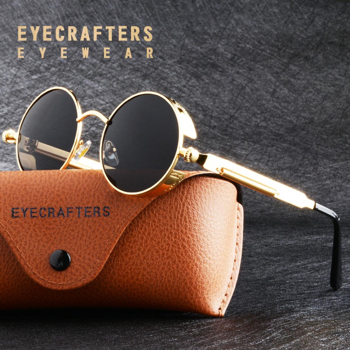 Oro Metallo Occhiali Da Sole Polarizzati Occhiali Da Sole Gotico Steampunk Occhiali Da Sole Delle Donne Degli Uomini di Modo Retro Vintage Scudo Occhiali Shades 2020